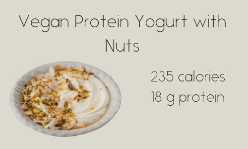 Vegan Protein Yogurt with Nuts 235 calories 18 g protein