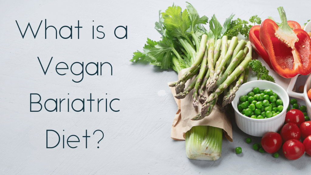 What is a Vegan Bariatric Diet? And photos of vegetables to the side of text.